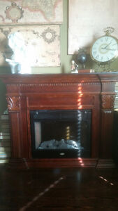 Solid Cherry Wood Coleman Electric Fireplace with remote