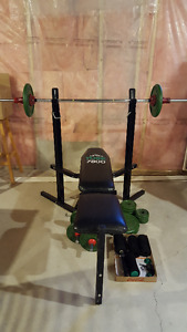 Home barbell gym set with bench
