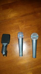 Microphones Shure 57 Beta, 58 Beta and Sennheiser E609