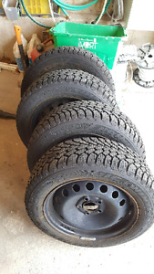 4x 205/55/R16  Goodyear Nordic winter tires on rims