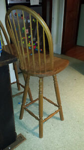 PAIR OF LARGE SOLID OAK BAR/COUNTER STOOLS $80 for the pair