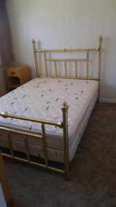 Queen Brass Bed with side rails to hold headboard and footboard