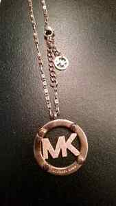 Mk rose gold coloured chain and pendant