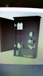 Ikea Hemnes Mirror cabinet with 1 door, black brown stain.