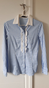Brand New Light Blue and White Ruffled Striped Blouse