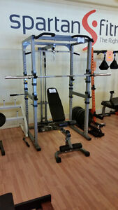 Power Cage w/ Olympic weight, bench, & lat tower