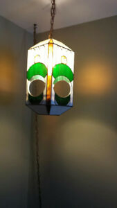 Stain glass hanging plant holder lamp