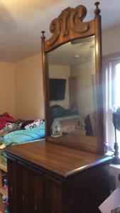 Old cedar tall dresser with mirror