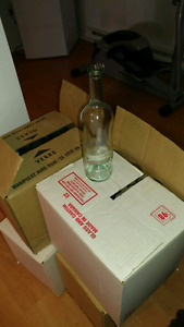 4 boxes of empty wine bottles