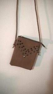 Cute small, thin beige purse with studs (Brand New, Never Used)