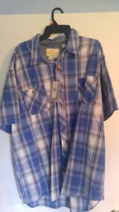 New -xxl short sleeve plaid shirt