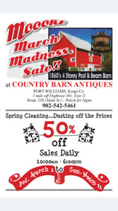 MOOORE MARCH MADNESS SALE!! 50% OFF at Country Barn Antiques
