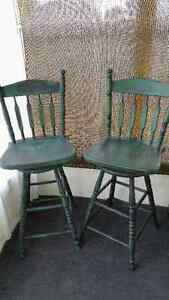 Solid Oak Swivel Bar Stools Painted and Distressed Kitchener / Waterloo Kitchener Area image 1