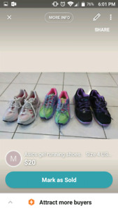 Girls running shoes size 4 US