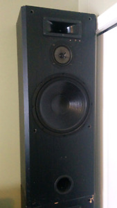 Home audio tower speakers with subwoofer.
