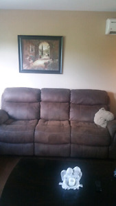 Reclining Rawhide Leather Couch and Loveseat