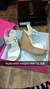 beautiful white/nude wedges