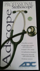 "ADC Adscope Stethoscope Adult Stainless Scope 31"" BLACK/COPPER 6"