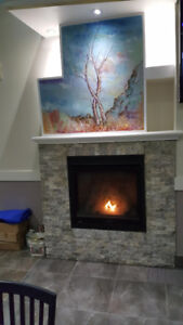 Indoor Construction — Fireplace, Accent Wall, Columns, Painting.