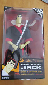 "Samurai Jack (13 inch doll), ""Spin Attack"" Aku figure - like new"