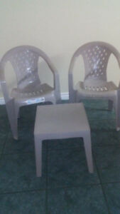 Outdoor chairs with table.