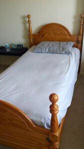 Moving Sale--Solid wood bedframe with twin size mattress