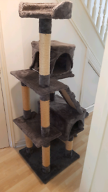 Tall cat shelter and scratching posts