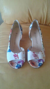 New Peter Kaiser leather floral pattern wedge sandals.