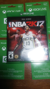 Nba2k17+4x 3 month xbox gold subscription codes