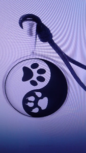Canine Wolf  Ying Yang Paw Print Necklace