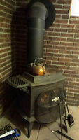 Antique Wood Burning Heater with Stainless Steel Chimney