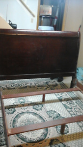 solid Cherry mahogany sleigh bed frame