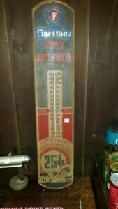 Vintage Firestone Super Anti Freeze Wall Thermometer tin sign