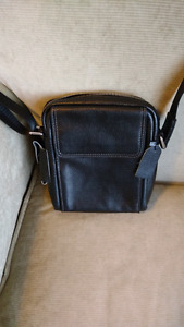 Unisex Black Leather Side Bag - Never been used