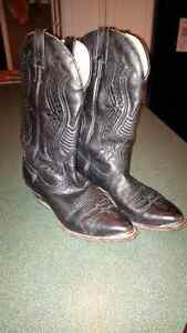 well loved black Boulet cowboy boots
