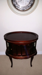 Beautiful Hand Made Antique Oval Shaped Liquor Cabinet