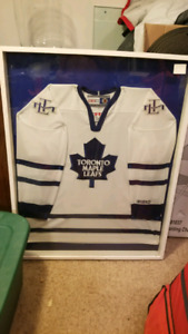 Toronto maple leafs jersey in a shadow box