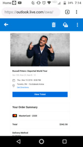 3 RUSSELL PETERS TORONTO TICKETS - WILL TRANSFER TICKETS