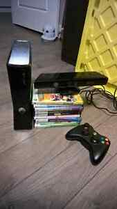 250GB Xbox 360 S with Kinect and games