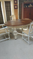Antique solid oak dining table & 4 chairs