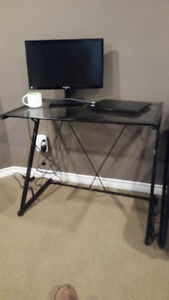 Glass top computer desk