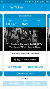 2 floor general admission tickets to Foo Fighters in Edmonton