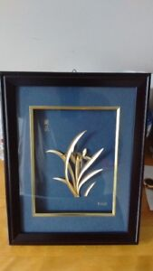Framed Gold Foil Art,Orchid Flower