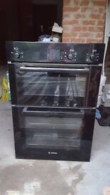 Bosch double built in oven with grill.