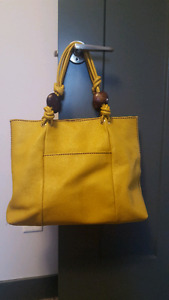 Large genuine leather yellow tote