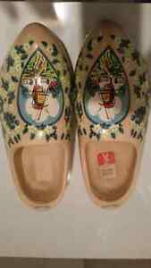Vintage Dutch Wooden Shoes - Windmill Painted Scene