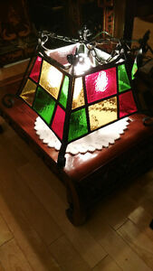 vintage stained glass leaded handing light