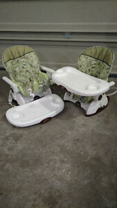2 Fisher Price seat mounted high chairs, great for twins!