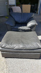 Leather Lounge Chair with Matching Footrest