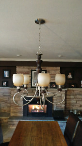 Wood and Nickel Chandelier